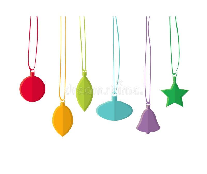 Giocattoli dell'albero di Natale nello stile piano ENV 10 illustrazione vettoriale