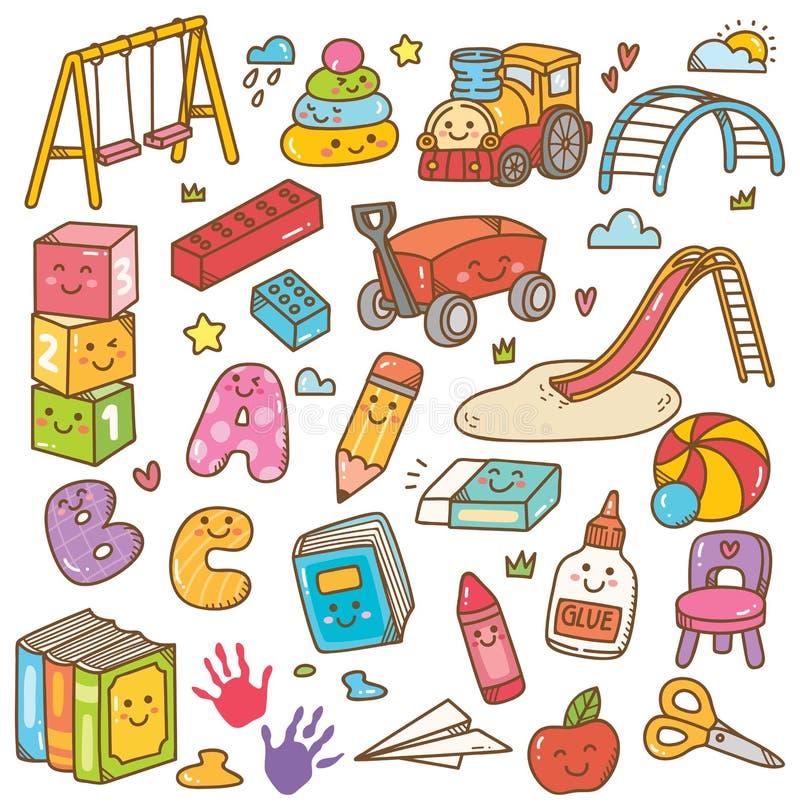 Giocattoli di asilo ed insieme di scarabocchio dell'attrezzatura royalty illustrazione gratis