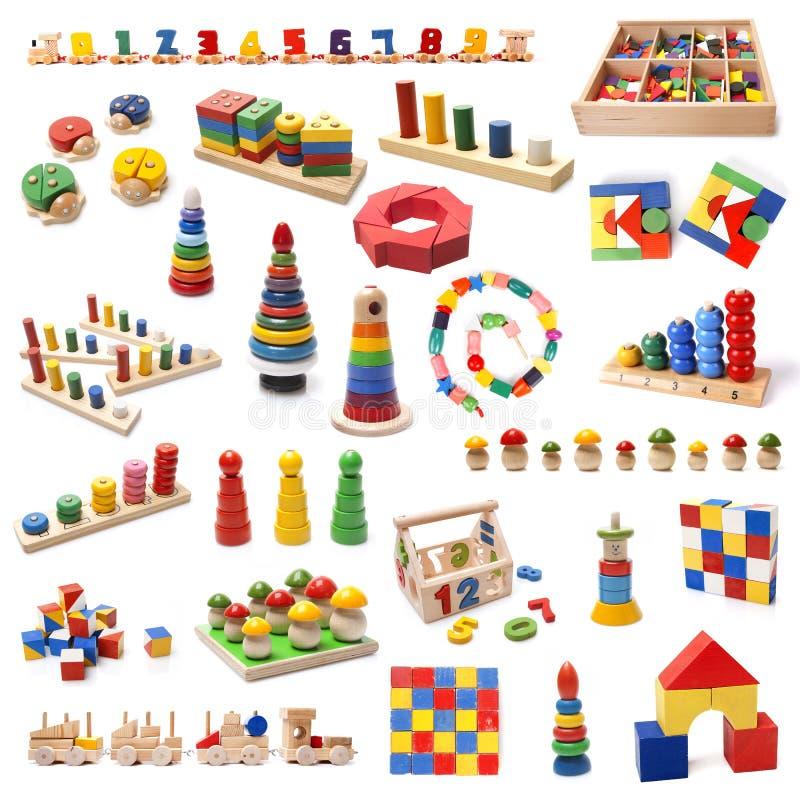 Giocattoli di legno variopinti delle perle immagini stock