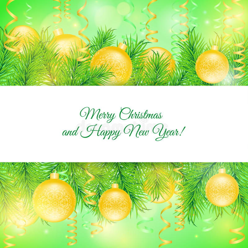 Giocattoli e serpentina di Natale della cartolina di Natale illustrazione vettoriale