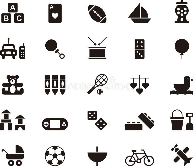 Giocattoli ed insieme dell'icona dei giochi illustrazione di stock