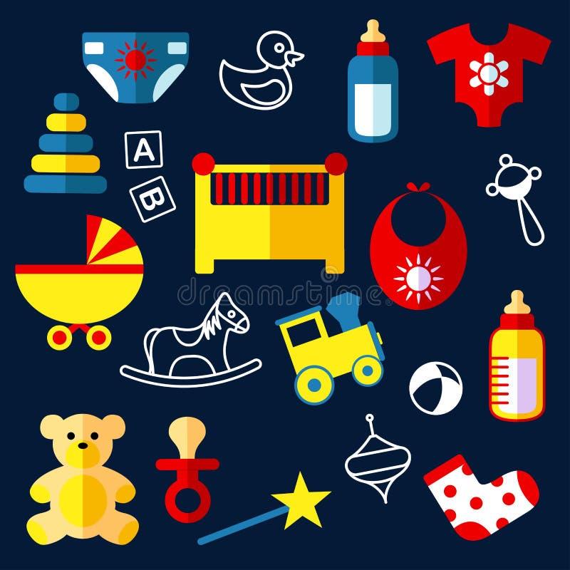 Giocattoli ed oggetti piani del bambino illustrazione di stock
