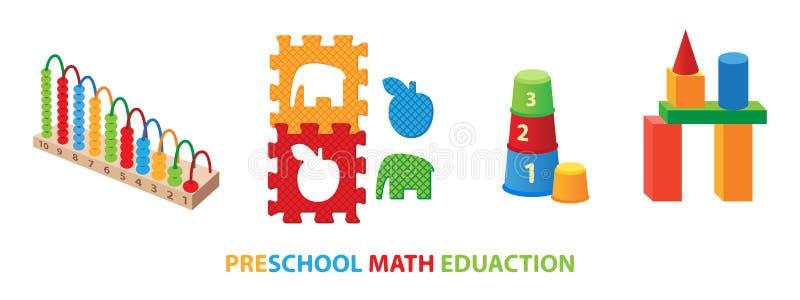 Giocattoli educativi di per la matematica prescolare royalty illustrazione gratis