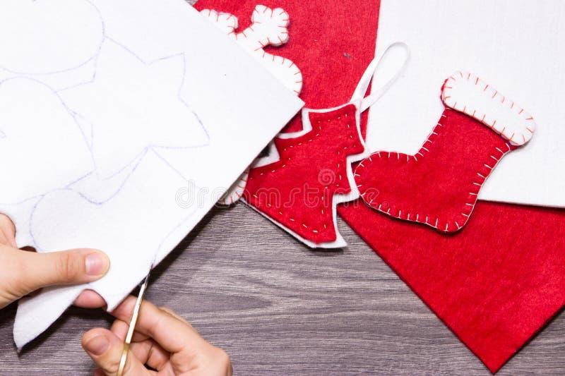 Giocattoli fatti a mano di Natale fotografia stock libera da diritti