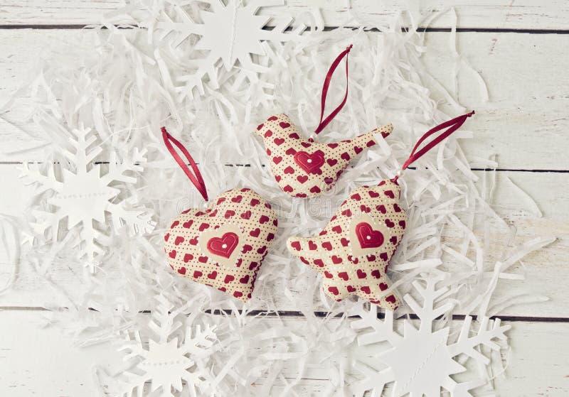 Giocattoli molli delle decorazioni fatte a mano di Natale fotografie stock libere da diritti