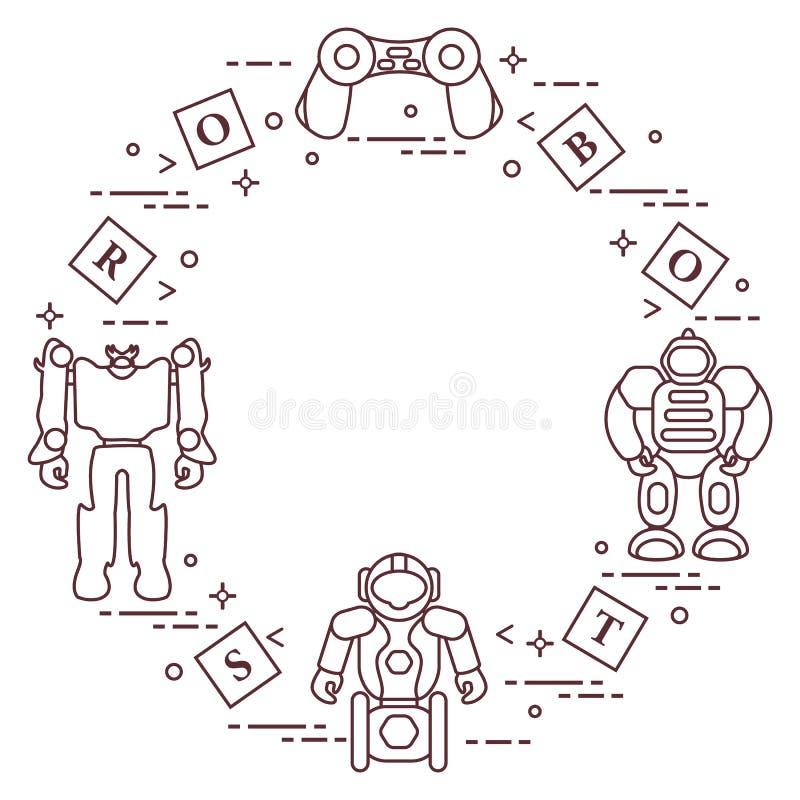 Giocattoli per i bambini: robot, telecomando, cubi royalty illustrazione gratis