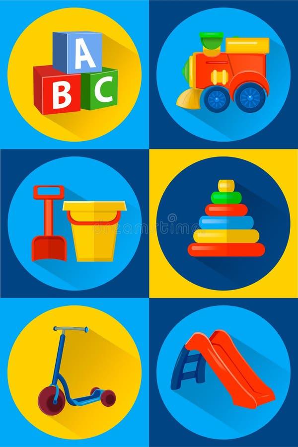 Giocattoli per le icone dei bambini piane Stile del fumetto illustrazione vettoriale