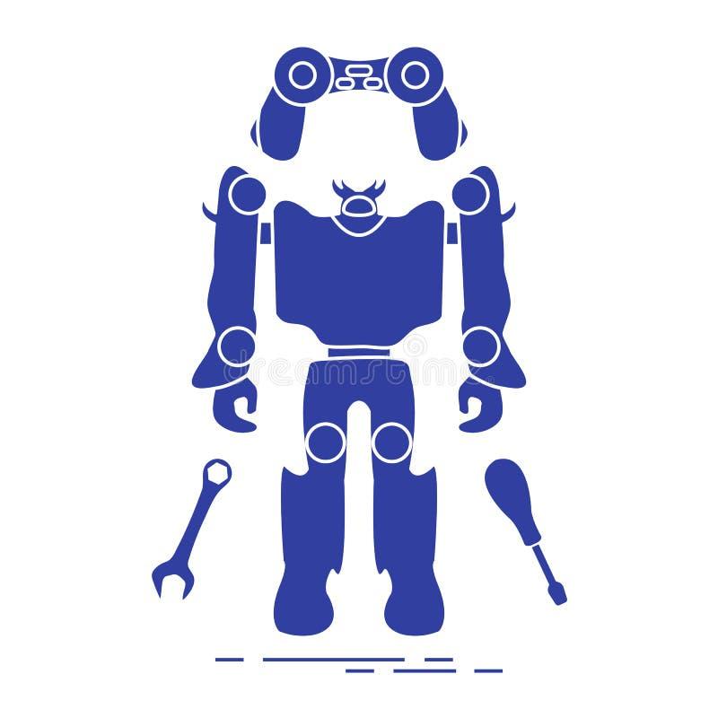 Giocattoli: robot, console, chiave, cacciavite illustrazione di stock