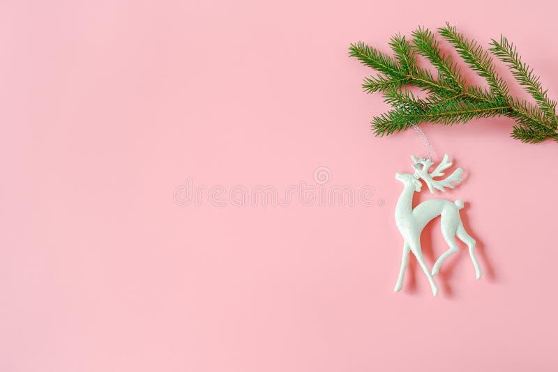 Giocattolo dei cervi della decorazione di natale bianco sul ramo dell'abete su fondo rosa con lo spazio della copia Buon Natale o fotografia stock