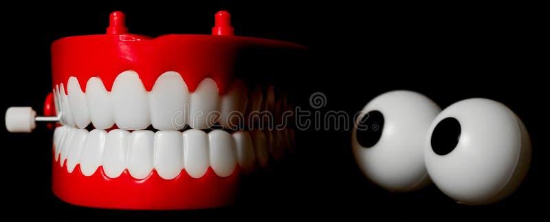 Giocattolo dei denti di schiamazzo che lo esamina fotografia stock libera da diritti