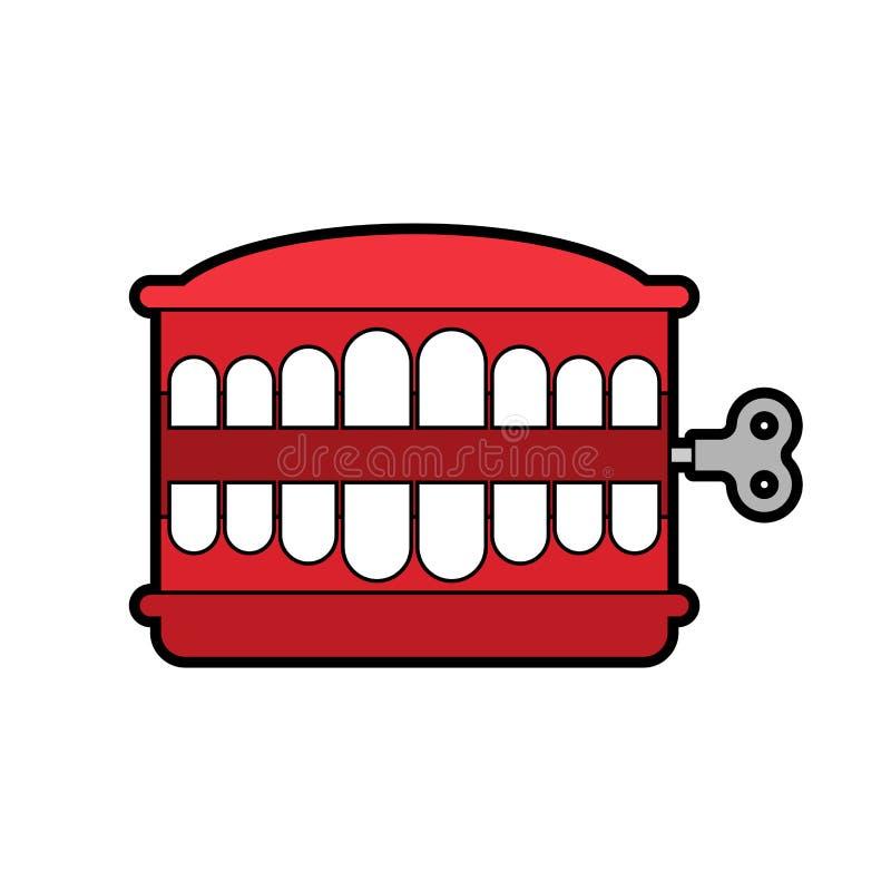 Giocattolo dei denti di schiamazzo isolato Simbolo di April Fools Day Vect del giocattolo della mandibola illustrazione vettoriale