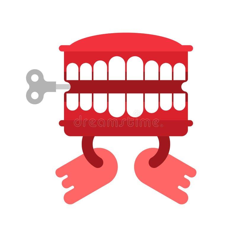 Giocattolo dei denti di schiamazzo isolato Simbolo di April Fools Day Vect del giocattolo della mandibola illustrazione di stock