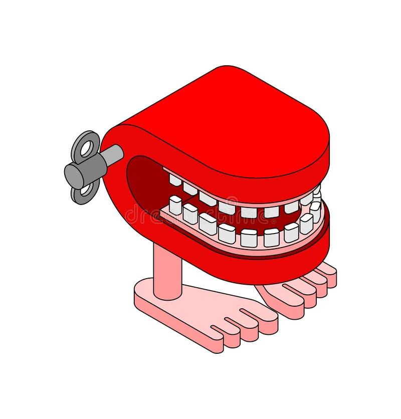 Giocattolo dei denti di schiamazzo Simbolo di April Fools Day Giocattolo della mandibola illustrazione vettoriale