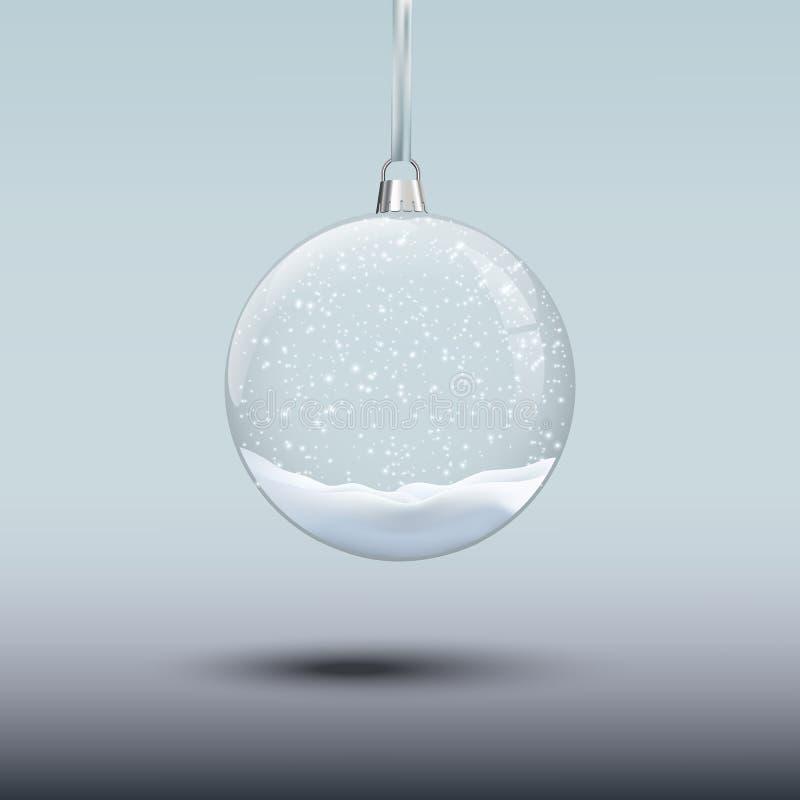 Giocattolo dell'albero di Natale con neve Elemento trasparente di Natale e del nuovo anno di vettore illustrazione vettoriale