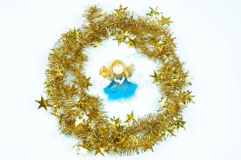 Giocattolo di angelo Composizione in natale Preporation per il nuovo anno immagini stock