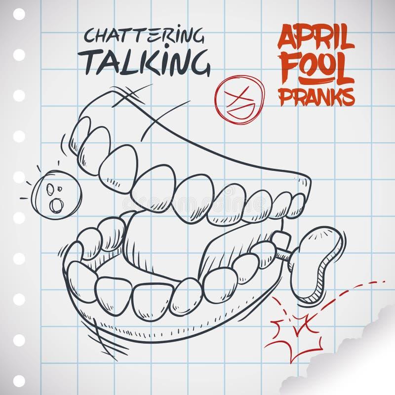 Giocattolo di conversazione divertente dei denti per il giorno dei pesci d'aprile, illustrazione di vettore illustrazione di stock