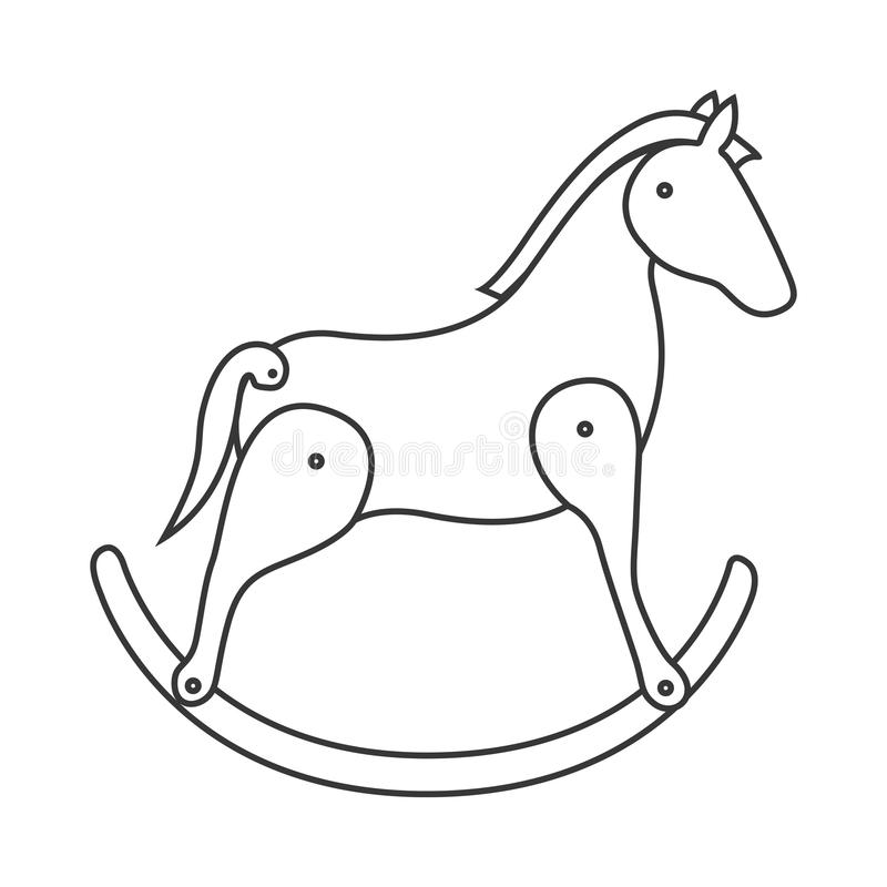 Giocattolo di legno del cavallo illustrazione di stock
