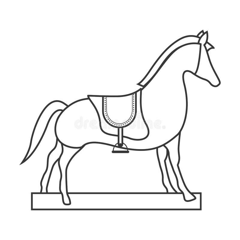 Giocattolo di legno del cavallo illustrazione vettoriale