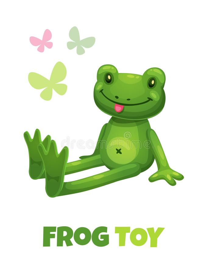 Giocattolo farcito sveglio della rana verde del fumetto Icona del giocattolo della peluche del bambino di vettore illustrazione vettoriale