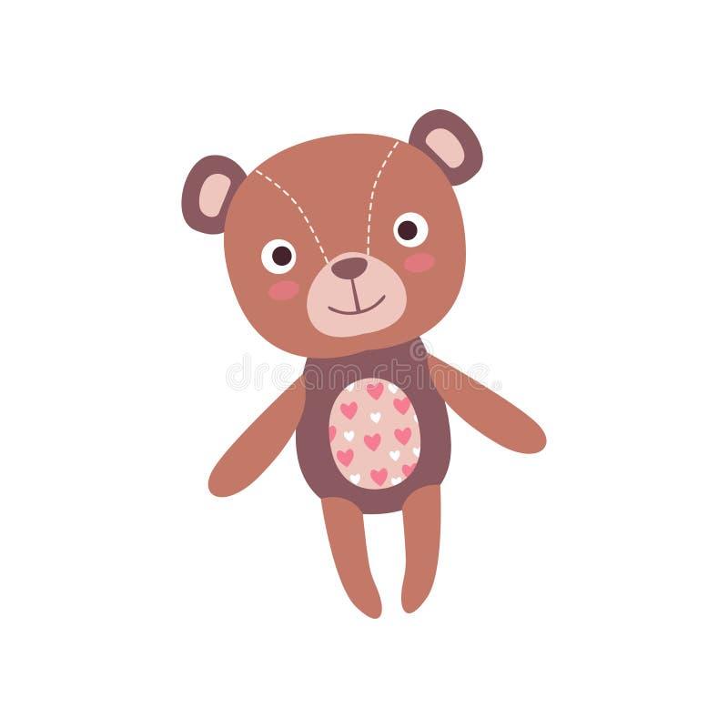 Giocattolo molle sveglio della peluche dell'orsacchiotto, illustrazione animale farcita di vettore del fumetto illustrazione vettoriale