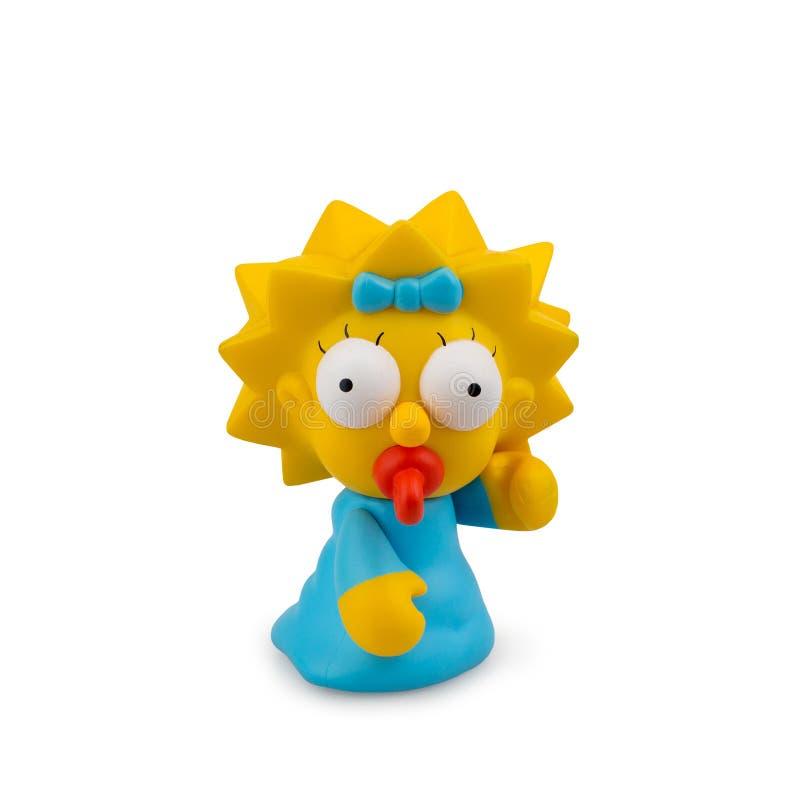 Giocattolo raccoglibile dal fumetto Simpsons su un fondo bianco fotografia stock libera da diritti