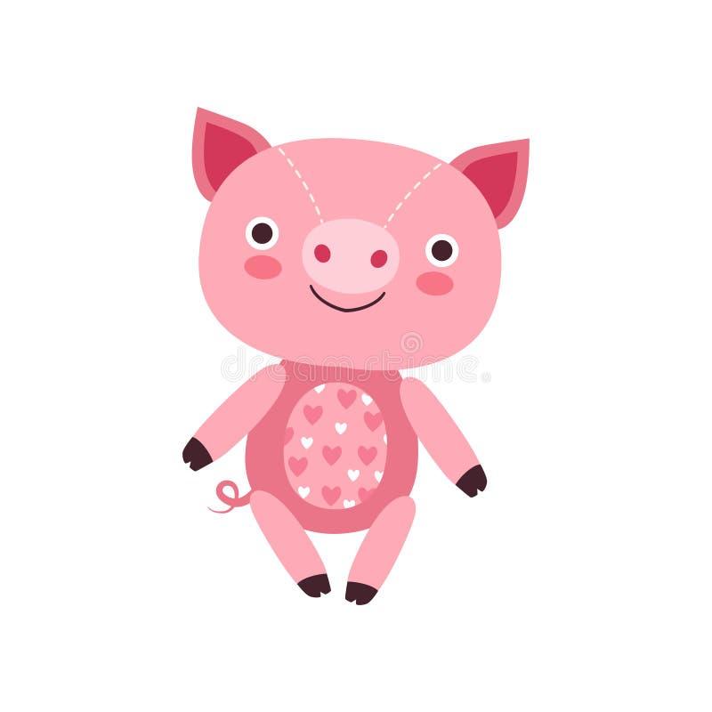 Giocattolo rosa molle sveglio della peluche di porcellino, illustrazione animale farcita di vettore del fumetto royalty illustrazione gratis