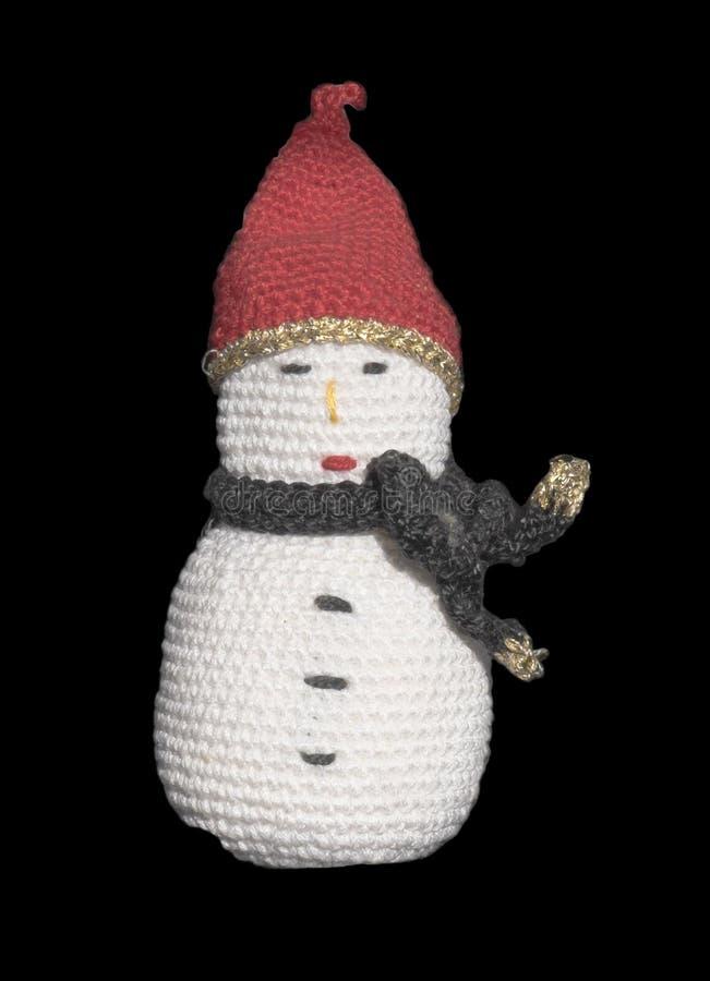 Giocattolo tricottato del pupazzo di neve fotografie stock libere da diritti