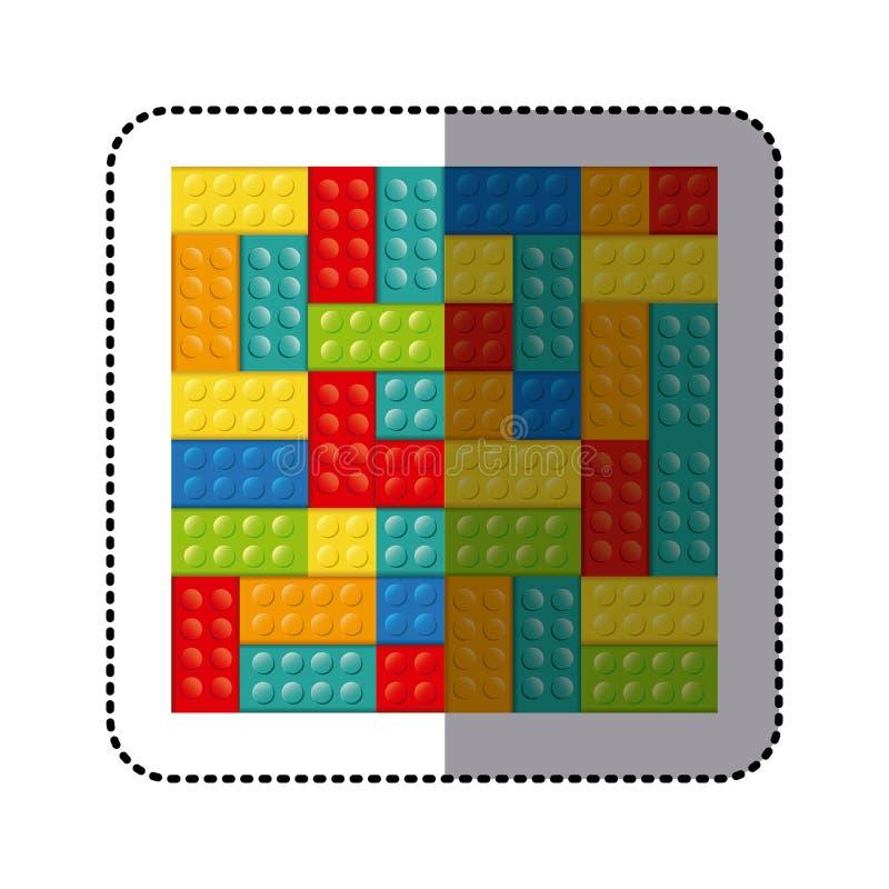 giocattolo variopinto dell'icona di lego dei mattoni del giocattolo della costruzione dell'autoadesivo royalty illustrazione gratis