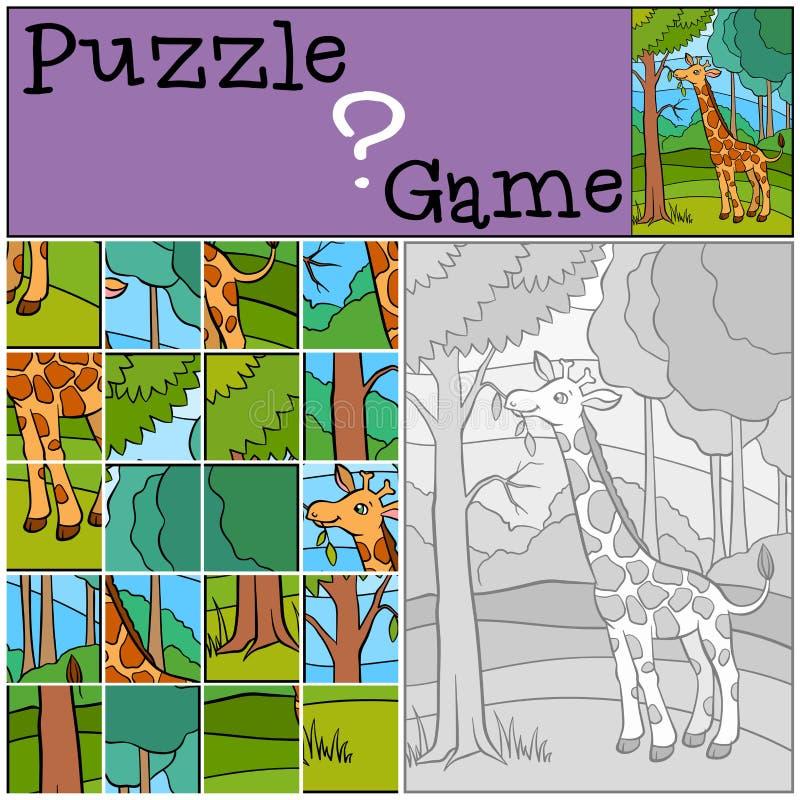 Giochi dei bambini: Puzzle Piccola giraffa sveglia royalty illustrazione gratis