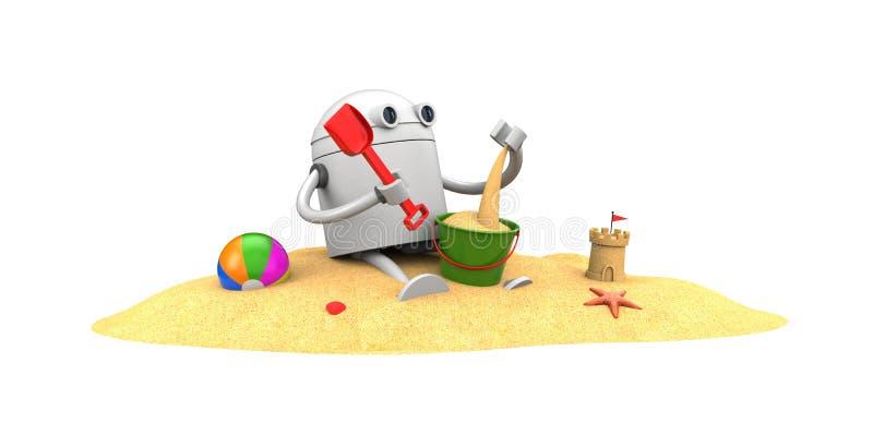 Giochi del robot nella sabbia con i giocattoli royalty illustrazione gratis