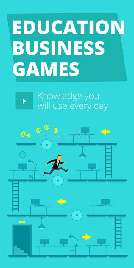 Giochi di affari di istruzione Gioco e concorrenza di formazione Dimensione standard di web dell'insegna verticale illustrazione di stock