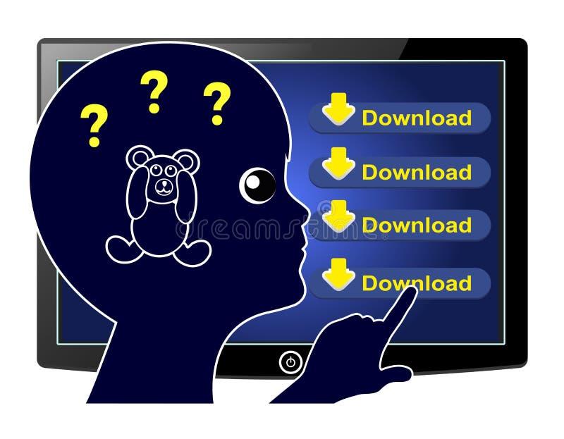 Giochi di download dei bambini illustrazione di stock