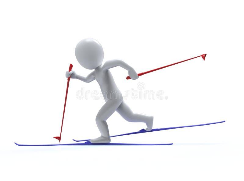Giochi di olimpiade invernale. Sci. l'uomo 3d sta sciando illustrazione di stock