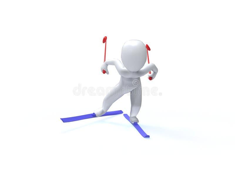 Giochi di olimpiade invernale. Sci. l'uomo 3d sta sciando royalty illustrazione gratis