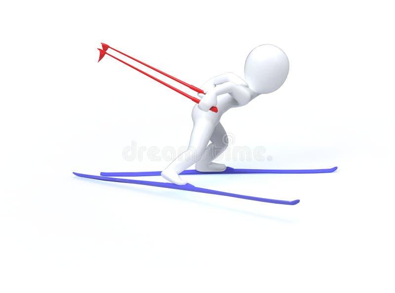 Giochi di olimpiade invernale. Sci. l'uomo 3d sta sciando illustrazione vettoriale