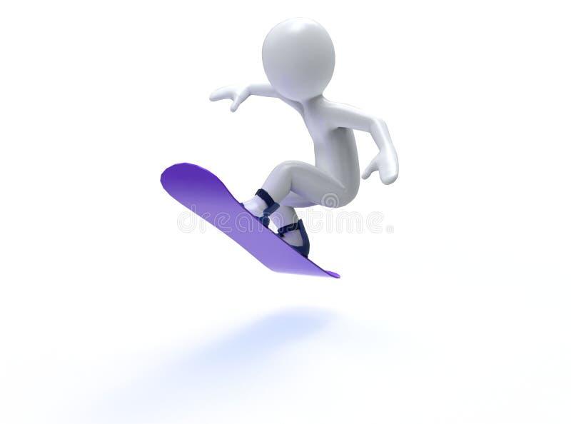 Giochi di olimpiade invernale. Snowboard. uomo 3d con lo snowboard illustrazione di stock