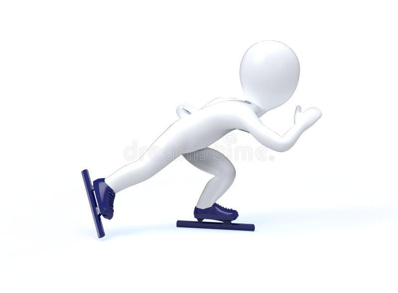 Giochi di Olimpic di inverno. Pattinaggio di velocità. l'uomo 3d sta pattinando su un fondo bianco. royalty illustrazione gratis