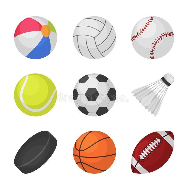 Giochi di sfera Vettore delle palle di rugby di pallacanestro dell'hockey del bambinton di calcio di calcio di tennis di baseball royalty illustrazione gratis