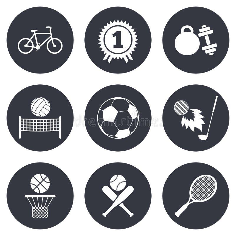 Giochi di sport, icona di forma fisica Calcio, pallacanestro illustrazione vettoriale
