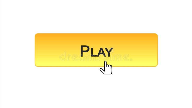 Giochi il bottone dell'interfaccia di web cliccato con il cursore del topo, il colore arancio, gioco online royalty illustrazione gratis