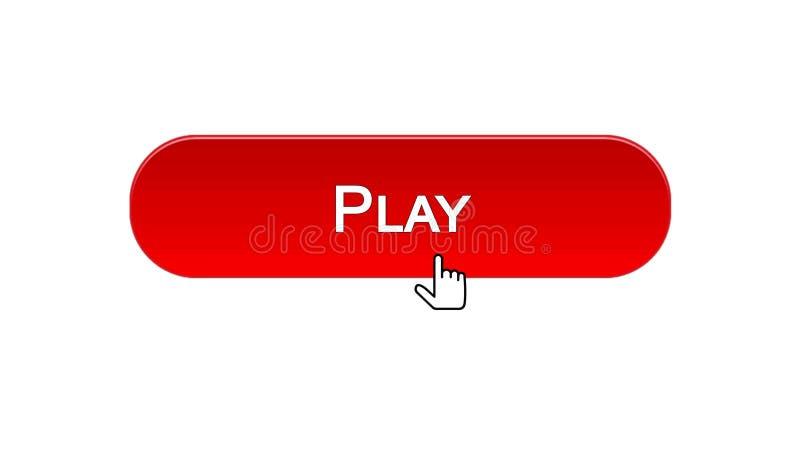 Giochi il bottone dell'interfaccia di web cliccato con il cursore del topo, il colore rosso, gioco online illustrazione di stock