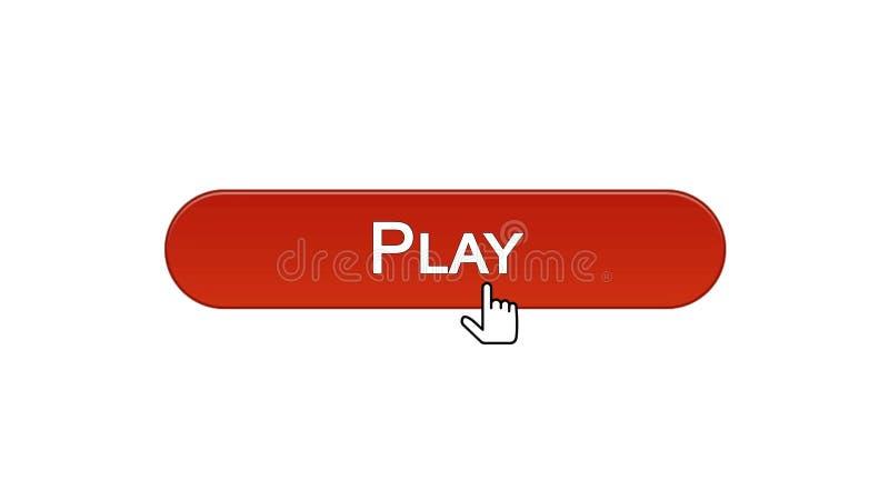 Giochi il bottone dell'interfaccia di web cliccato con il cursore del topo, il colore rosso del vino, gioco online illustrazione di stock
