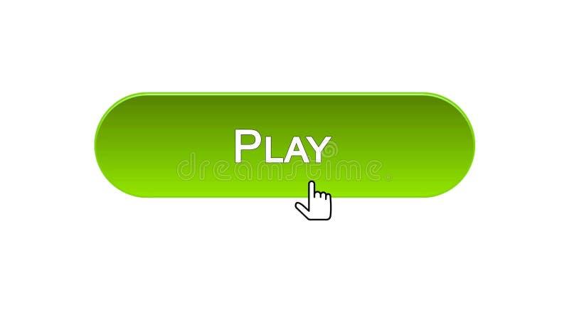 Giochi il bottone dell'interfaccia di web cliccato con il cursore del topo, il colore verde, gioco online illustrazione vettoriale
