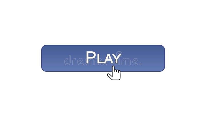 Giochi il bottone dell'interfaccia di web cliccato con il cursore del topo, il colore viola, gioco online illustrazione di stock