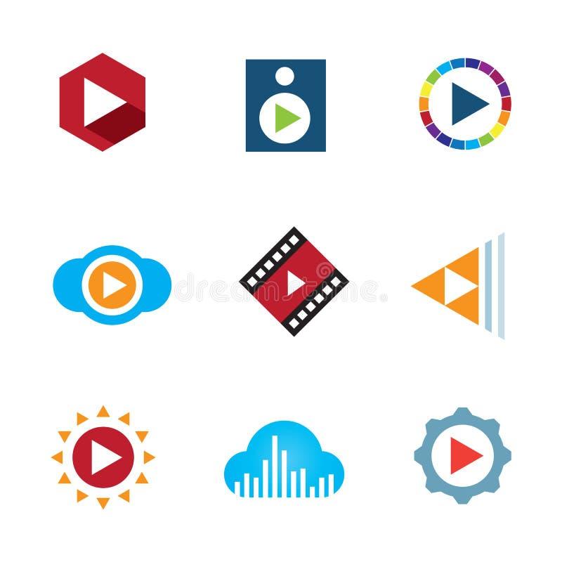 Giochi il nastro creativo dell'icona di logo di musica della video nuvola del bottone illustrazione di stock