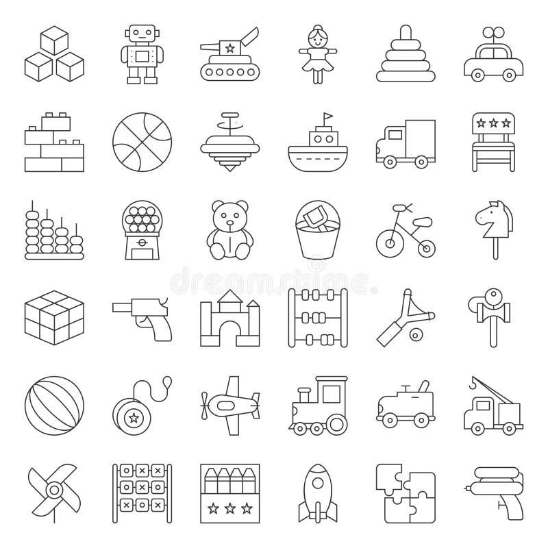 Giochi per i bambini e l'icona del bambino ha messo 1/3 illustrazione di stock