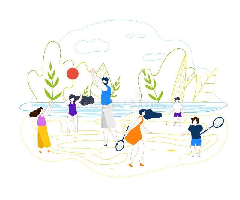 Giochi piani della spiaggia di estate di vettore sul fiume del fondo royalty illustrazione gratis