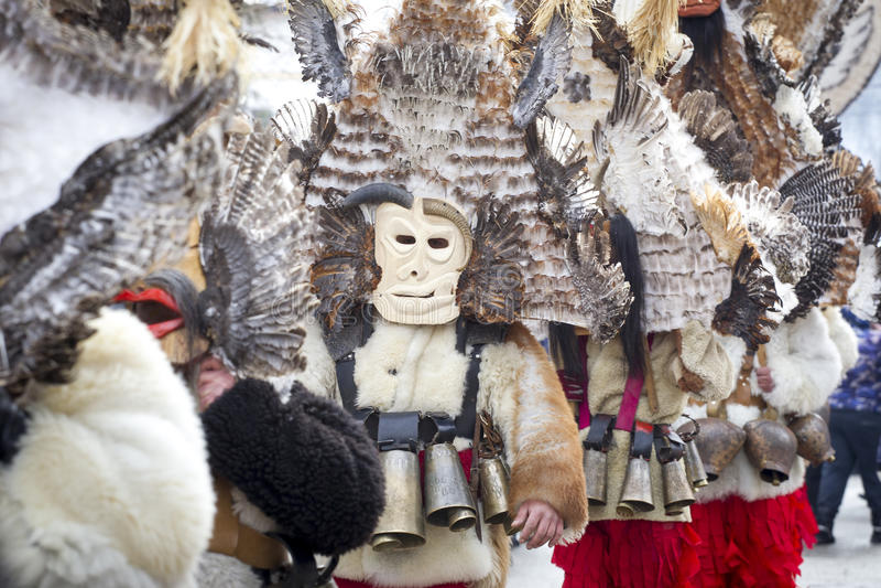 Giochi tradizionali di travestimento della Bulgaria immagini stock libere da diritti