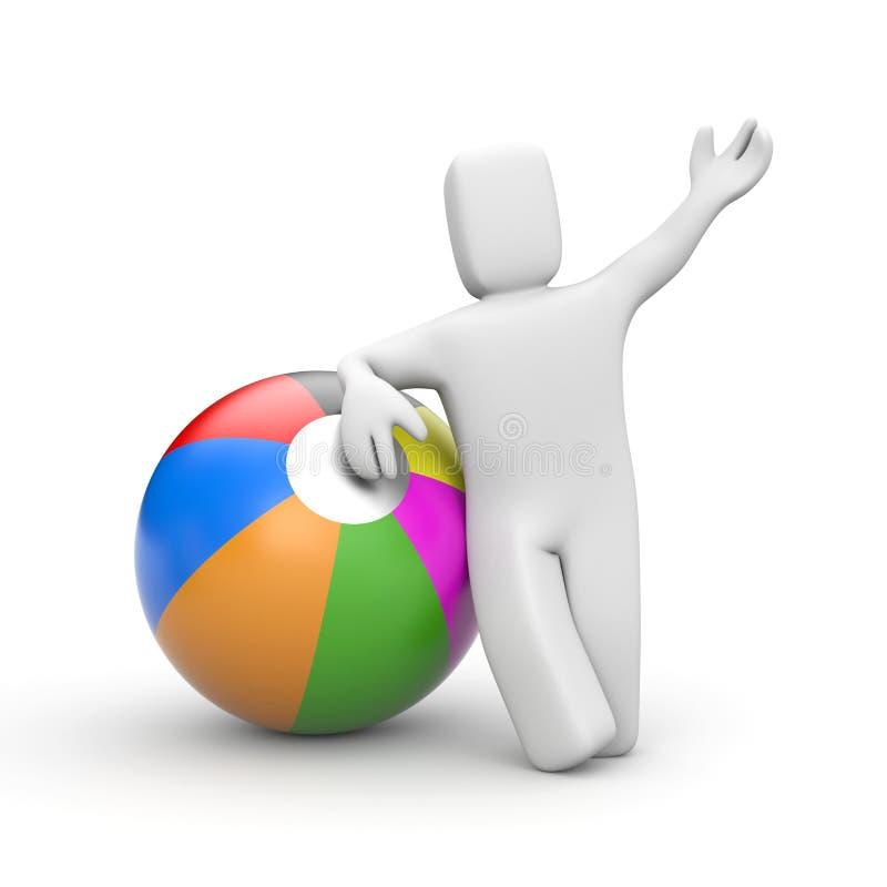 Giochiamo! Persona con la palla del giocattolo illustrazione vettoriale