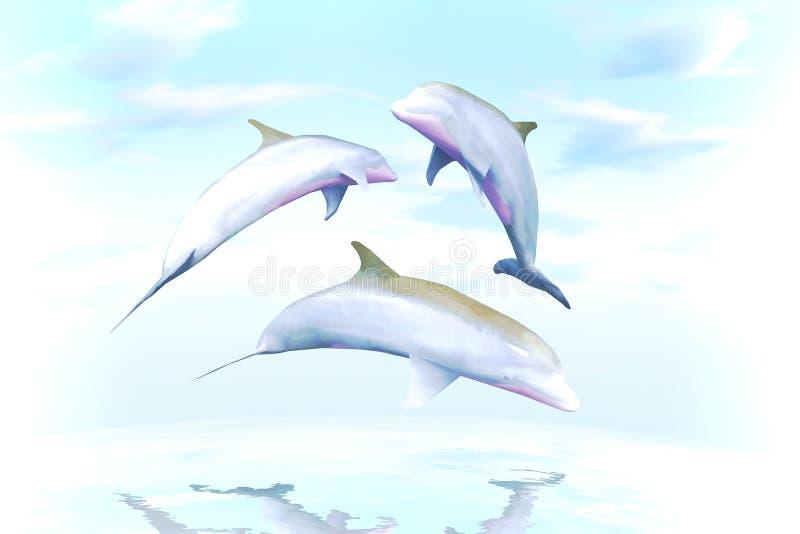 Gioco allegro, la famiglia dei delfini contro le onde di oceano illustrazione di stock